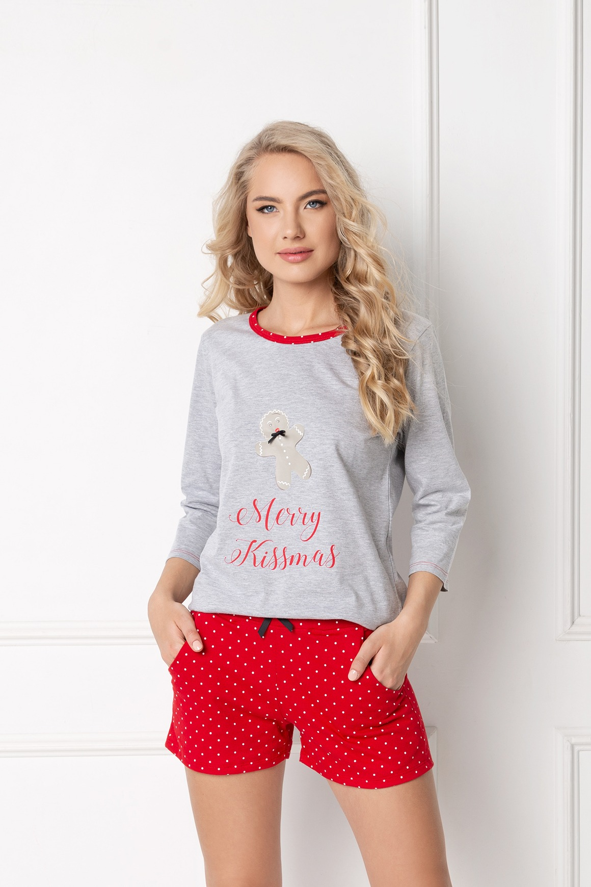 Cookie Short Grey-Red LS-GRARED