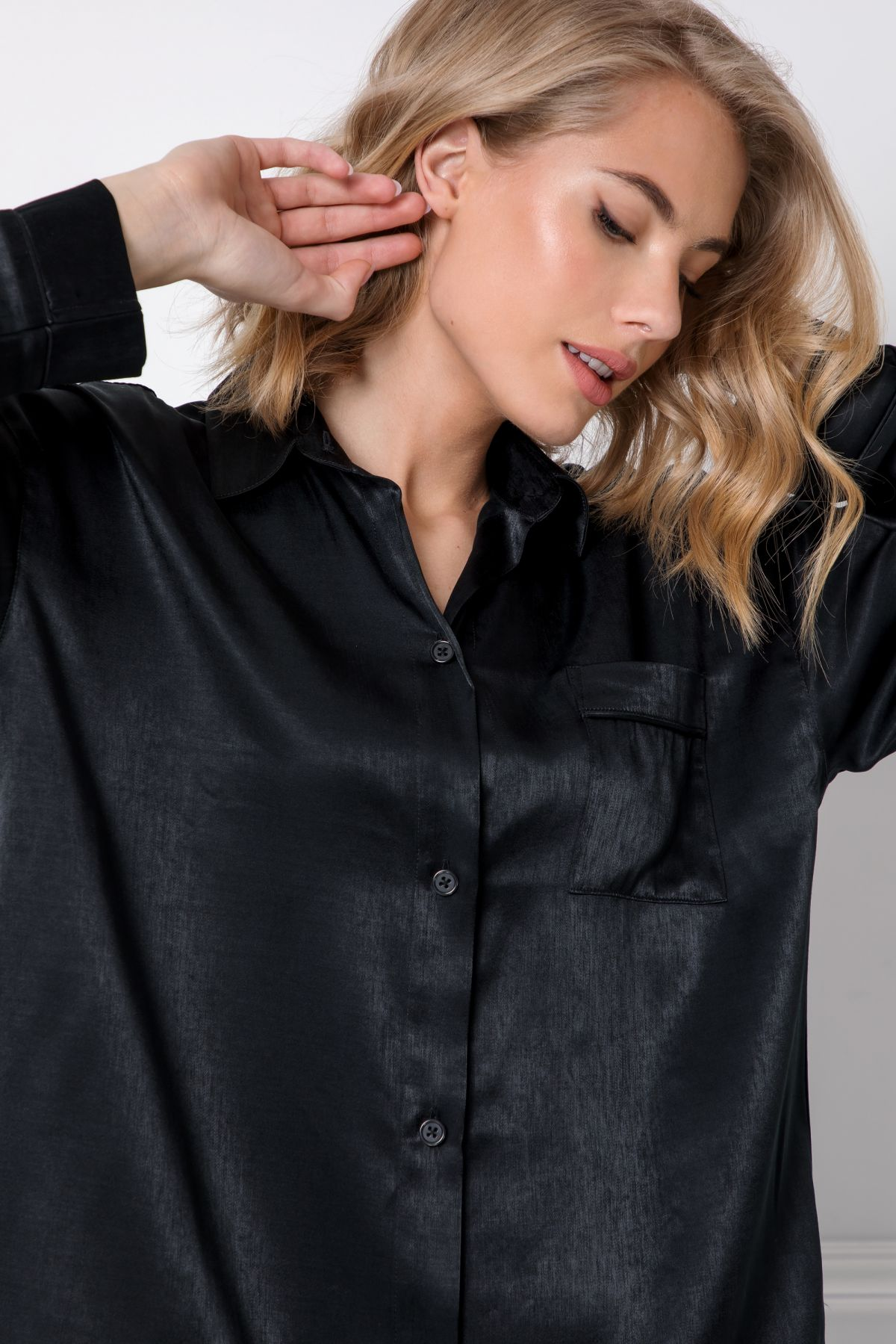 Dominique Nightdress - s dlouhým rukávem-BLA