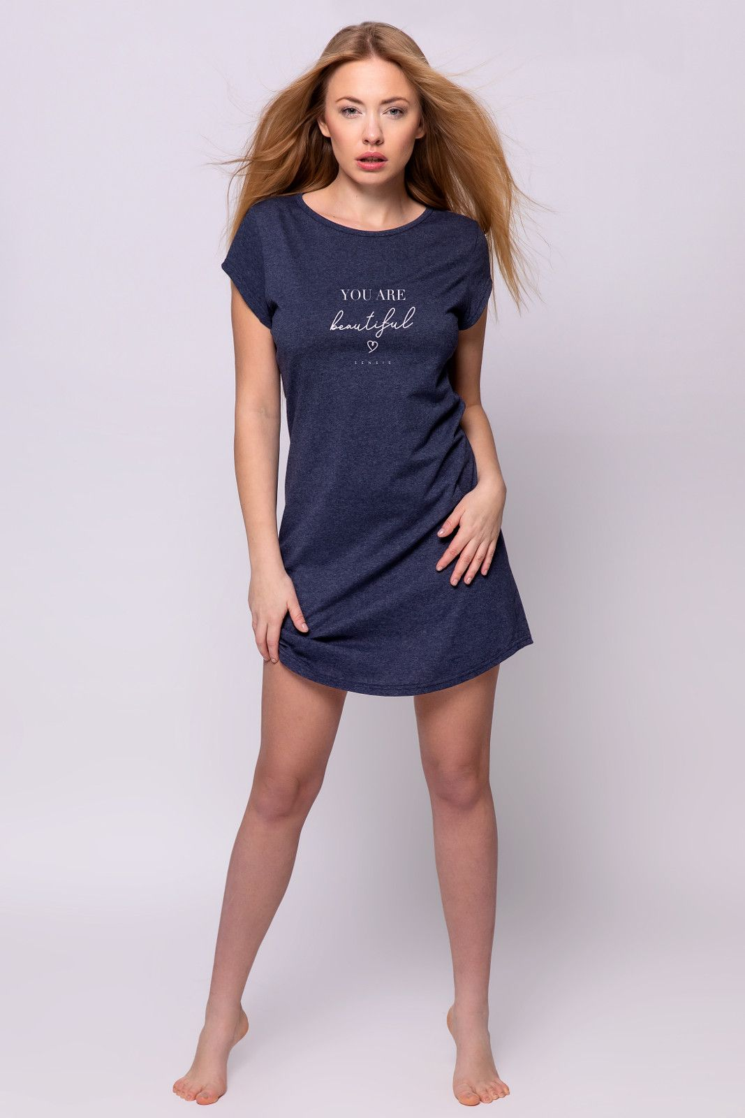 Noční košilka Sensis Beautiful Dark blue Tmavě modrá L